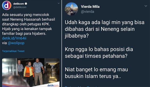 <i>Detikcom</i> Sibuk Bahas Jilbab Neneng saat Ditangkap KPK, Warganet Protes Keras