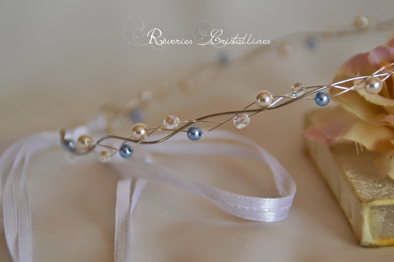 accessoire coiffure mariée en perles et ruban