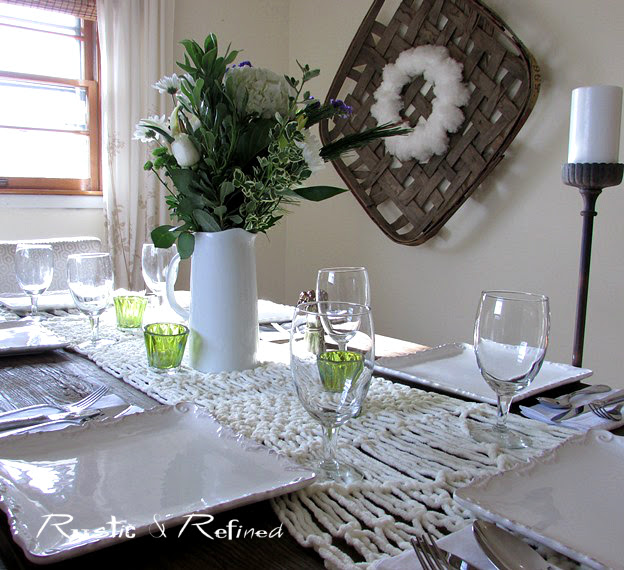 Tablescape using white dishes for a winter decor idea diy
