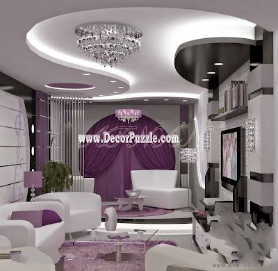 contemporary pop false ceiling design with led lights for living room interior 2020