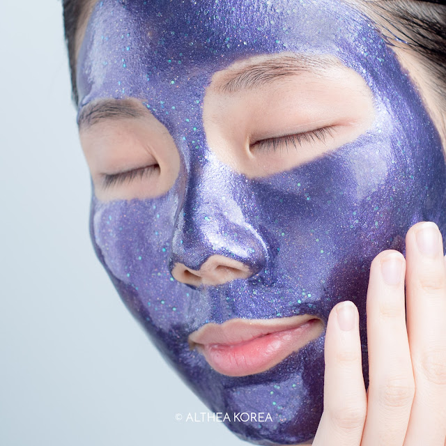 purple, peel off mask, k-beauty, althea, cosmetics, skincare, glitter, holographic, iridescent, magic, prreti, swatch, skin, texture, test, smooth