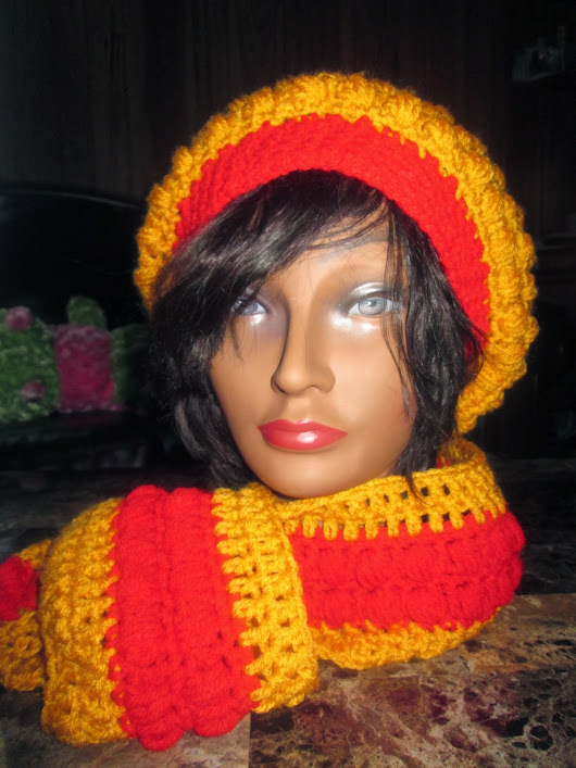 Completed Project: Crochet Puff Stitch Hat w/Matching Puff Stitch Scarf