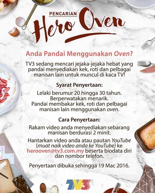 Sertai Ujibakat Pencarian Hero Oven TV3, syarat dan cara menyertai hero oven