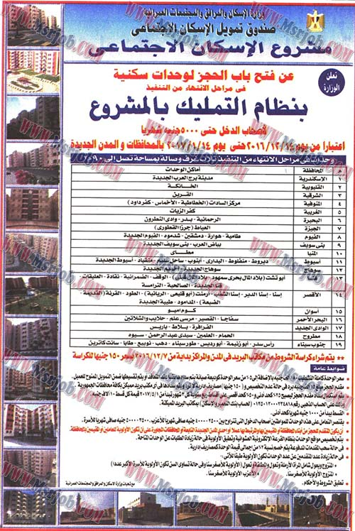 مواعيد حجز الوحدات السكنية الاجتماعية فى 21 محافظة الغير مدعمة والتقديم حتى 13 / 1 / 2017