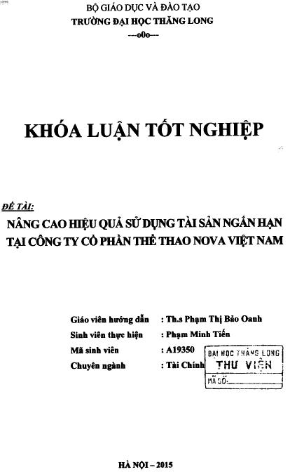 Nâng cao hiệu quả sử dụng tài sản ngắn hạn tại Công ty Cổ phần Thể thao Nova Việt Nam