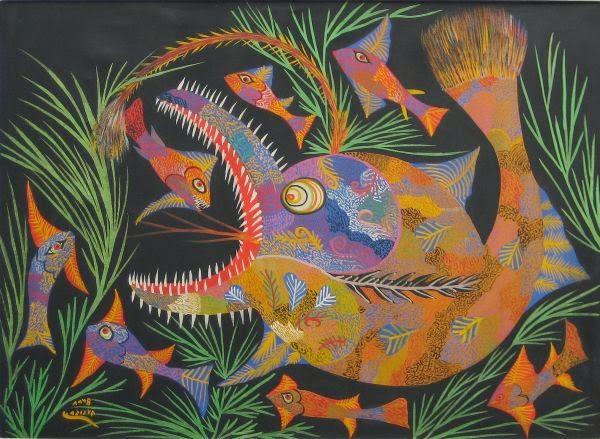 Peixes - Chico da Silva e suas pinturas primitivista ~ Pintor brasileiro