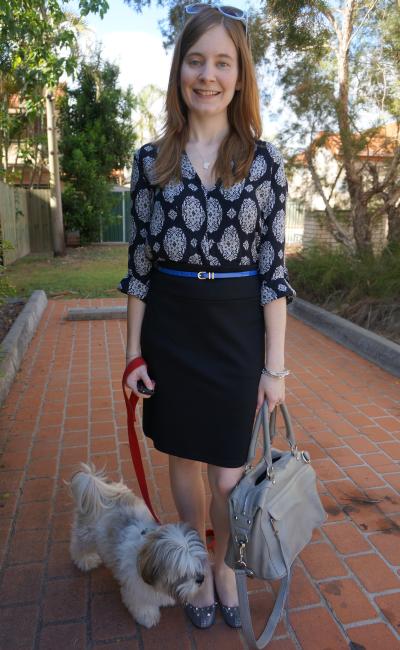 e6edcc09b360 Dress  Zara printed bib front tunic dress (worn as top) Belt  Asos metal  keeper skinny waist ...