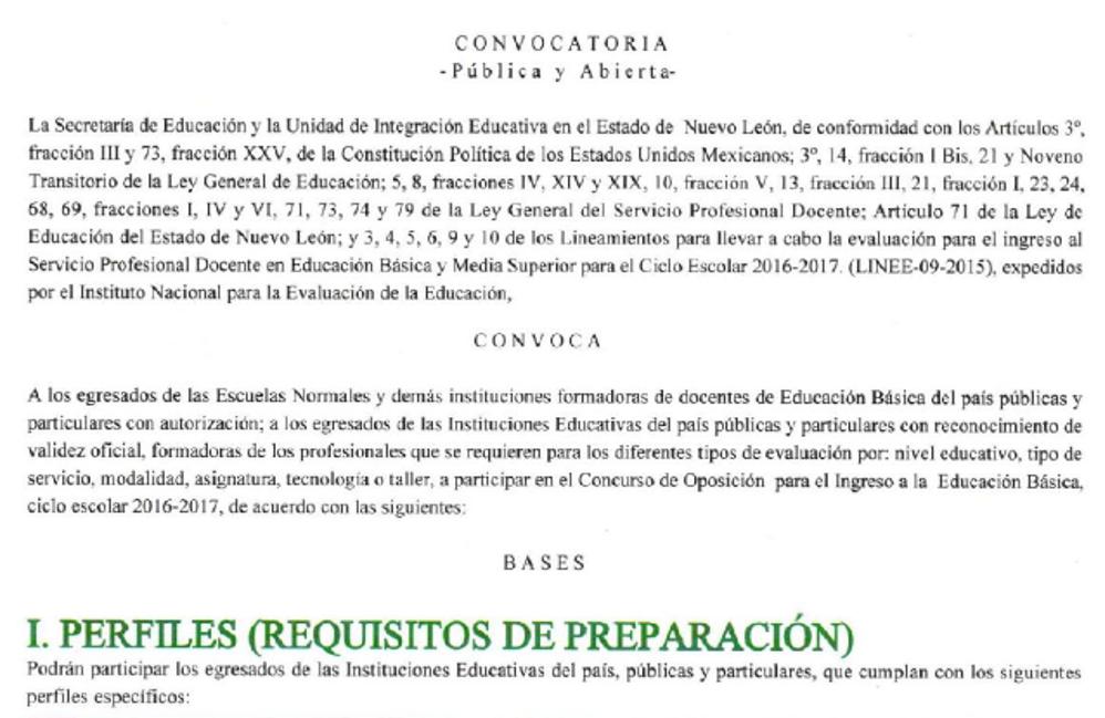 Convocatorias estatales para el ingreso al servicio Convocatoria para las plazas docentes 2016