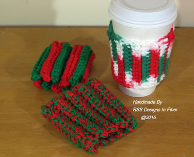 Red And Green Cup Cozy Set - Handmade Crochet by RSS Designs In Fiber