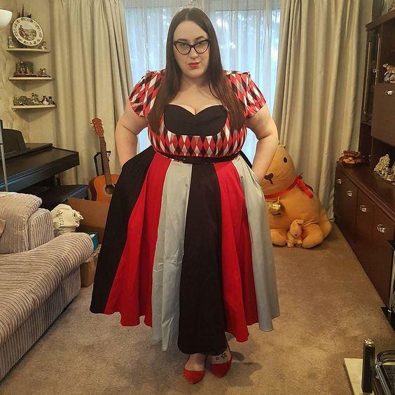 Pin Up Girl Cherie plus size Dress in Bad Girl Harlequin