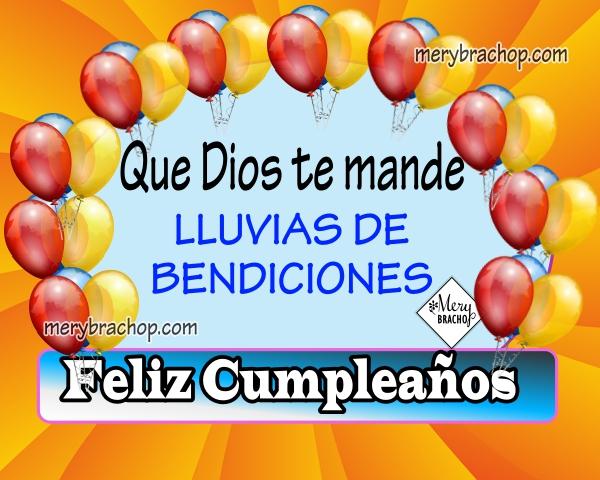 imagen tarjeta de cumpleaños con globos y frases de bendiciones de cumple