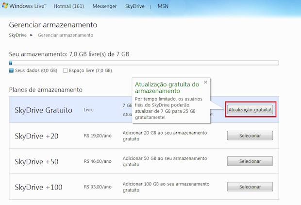 upgrade de 7GB para 25 GB no SkyDrive