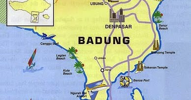 Peta Tempat Wisata Pantai Di Kabupaten Badung Bali