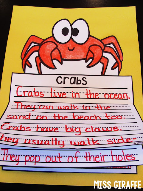 Crabs writing activity that is an easy crab craft for kids to make to write about what they've learned about crabs - so many cute ideas on this page!