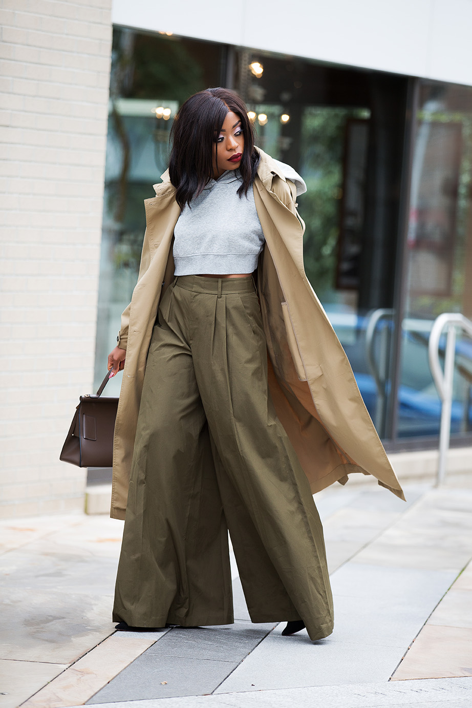wide-leg trouser, crop hoodie, www.jadore-fashion.com