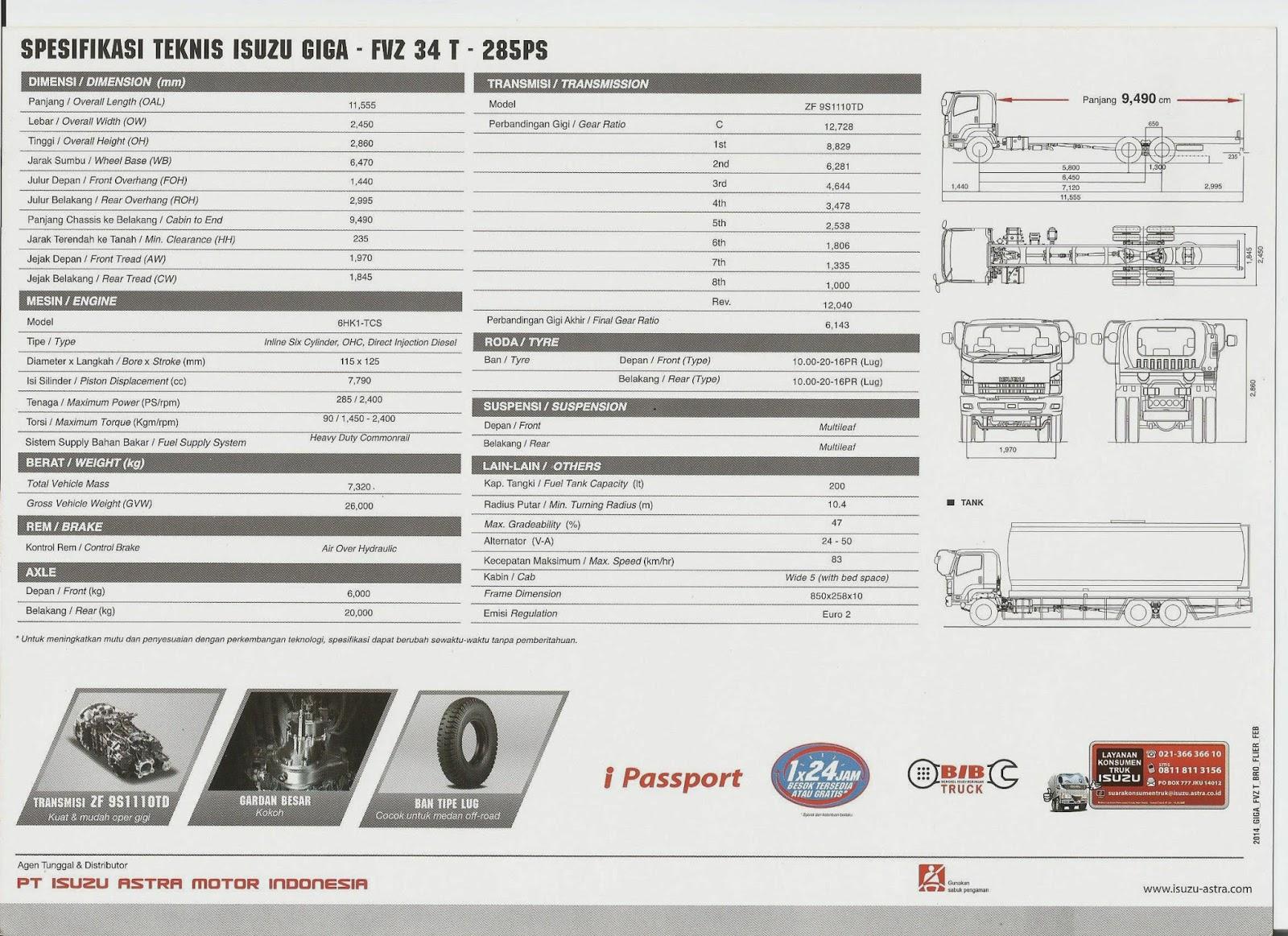 Isuzu Giga Fvz 34t Long Chassis 9 5 Meter 6x4 285 Ps