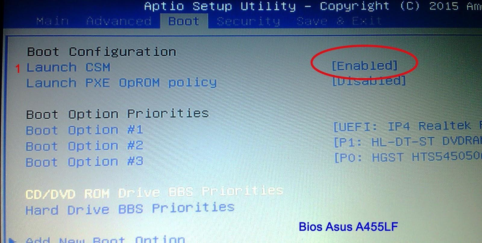 Install Windows 7 - 64bit di Asus A455L (BIOS UEFI) - Kijang Jantan