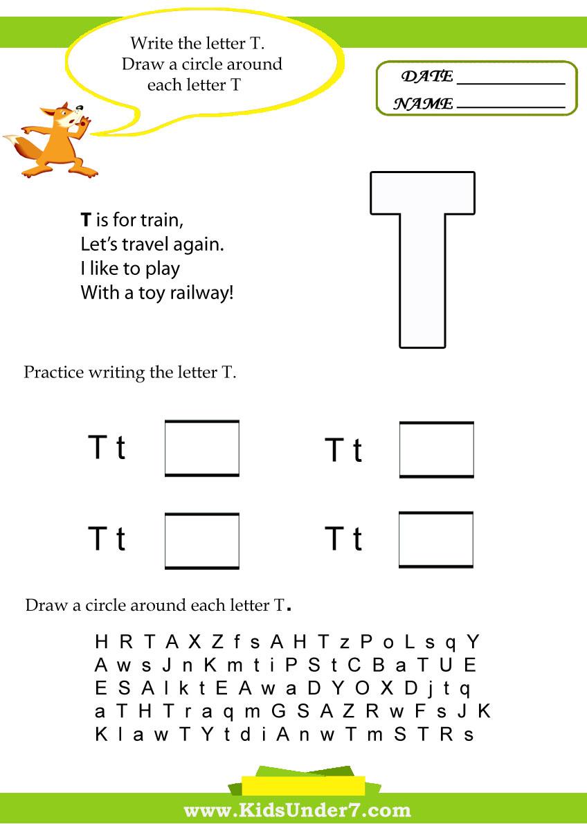 Kids Under 7: Letter T Worksheets