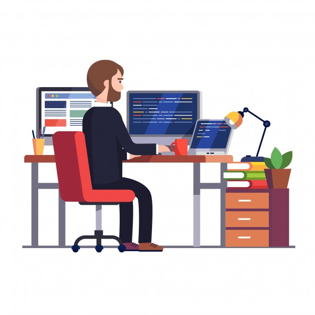 Professional programmer engineer writing code Free Vector