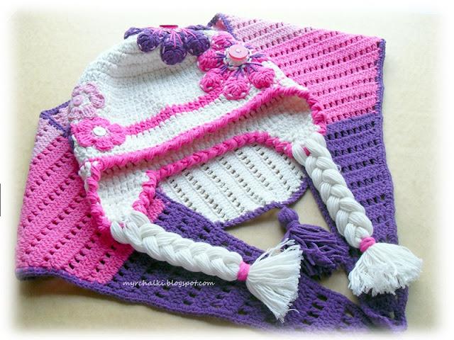 комплект детский шапка и шарф крючком