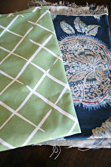 Green and blue fresh fabrics for spring