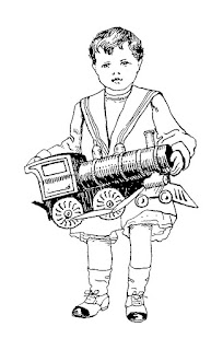 boy toy train christmas vintage illustration stock digital image