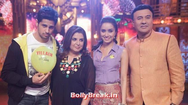 Sidharth Malhotra, Farah Khan, Shraddha Kapoor and Anu Malik, Shraddha, Sidharth promote Ek Villain on Entertainment Ke Liye Kuch Bhi Karega