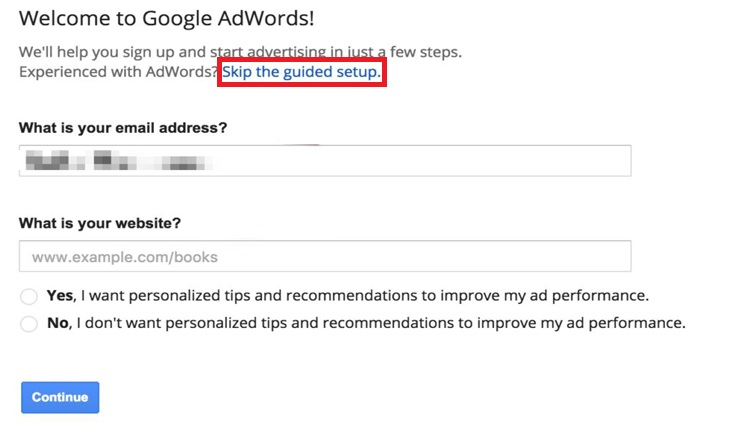 click to skip the guided setup in AdWords