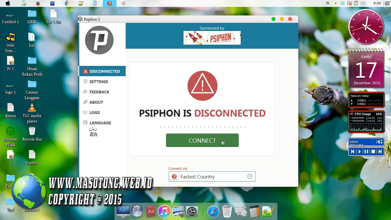 Psiphon for android settings menu