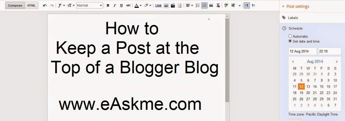 How to Keep a Post at the Top of a Blogger Blog : eAskme