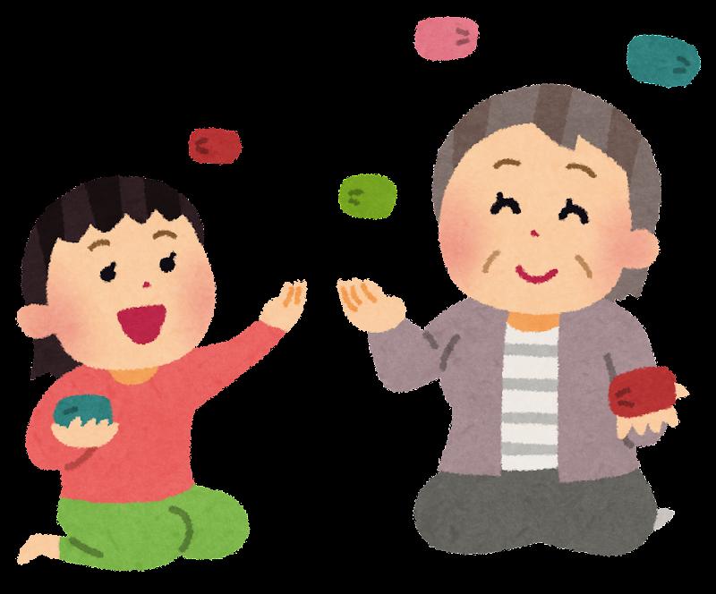 すべての講義 正月 福笑い : 孫とお手玉で遊ぶお婆さんの ...