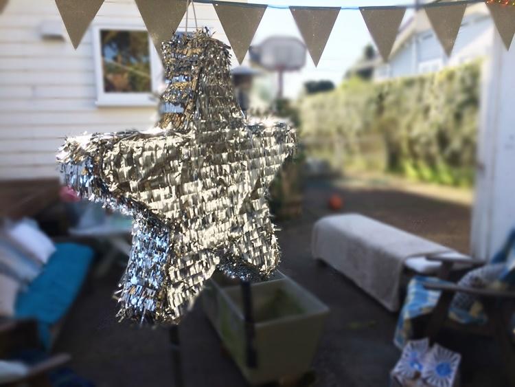 silver star pinata from Kmart