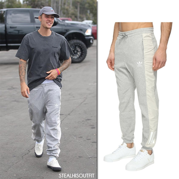 Justin Bieber wearing Adidas Originals grey sweatpants july 24 2017 men's casual sport fashion