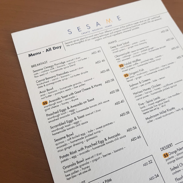 breakfast menu sesame dubai