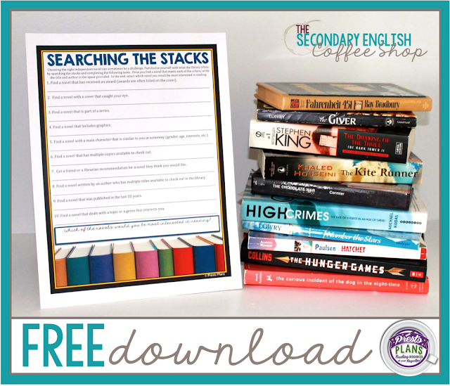 Help your students navigate the library to find the perfect novel with this FREE Searching The Stacks activity!