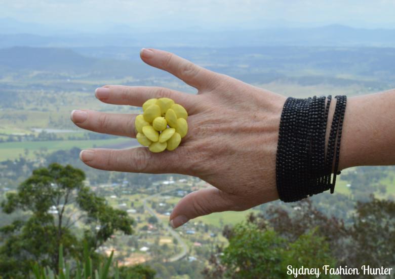 Lovisa Yellow Flower Ring, Lovisa Black Srand Bracelet