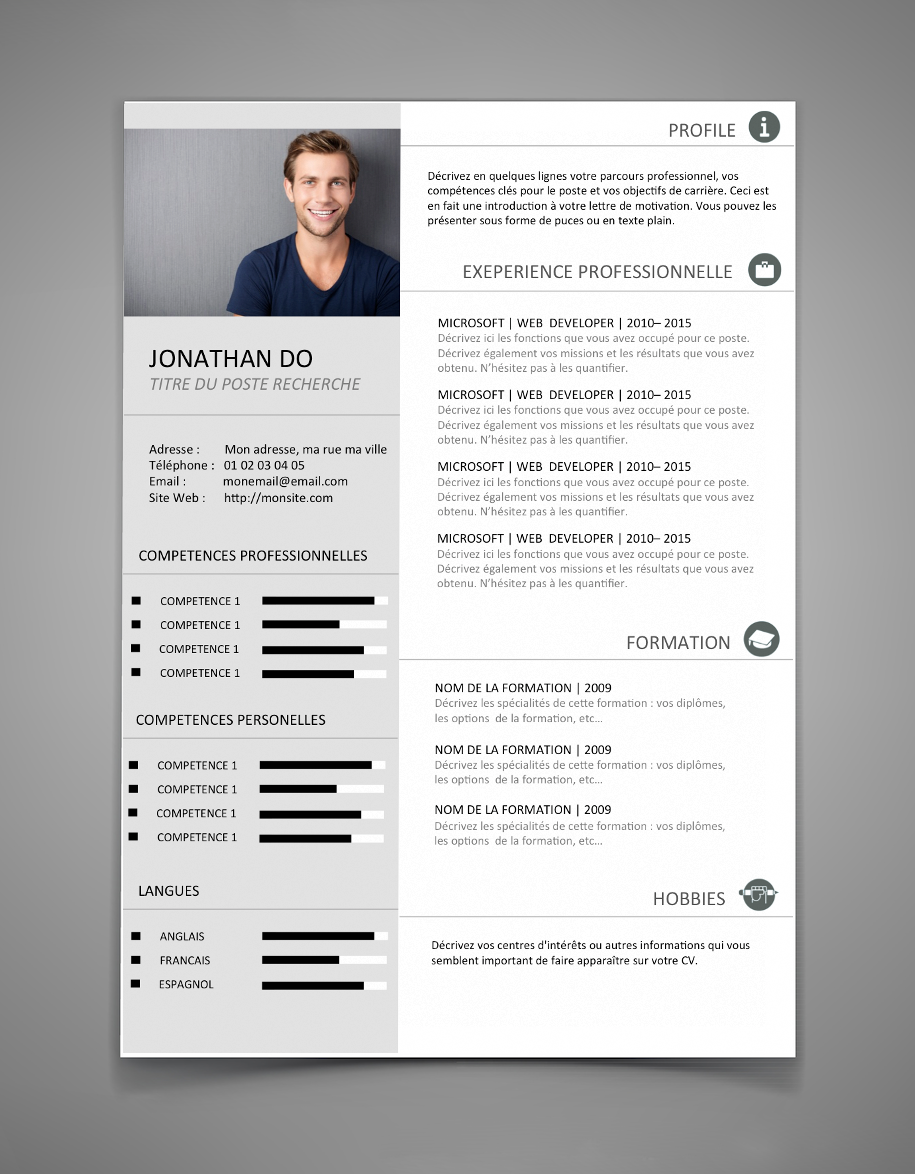 template cv gratuit html