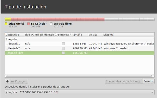 Si abrimos Gparted desde el Live veremos así las particiones destinadas a Windows.