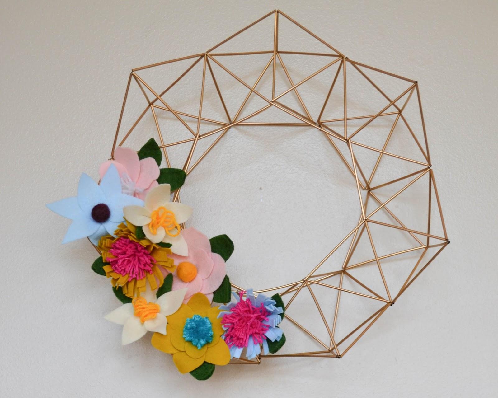 Wreath Decor Doorway Laurel Garland Geometric Gold Felt Paper Flowers  Floral Modern Wreaths