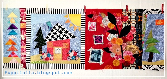 Freddy Moran, Puppilalla, Round Robin Quilt, Raw Edge Applique, Rakish Needle Round Robin, Quilt Panel, Modern Quilting