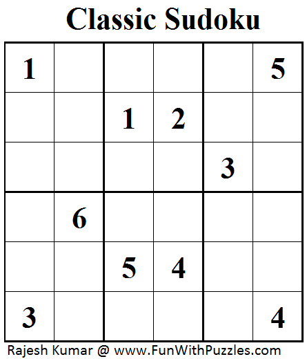 Classic Sudoku (Mini Sudoku Series #47)