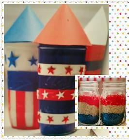 Mason Jar Crafts for Kids patriotic jars