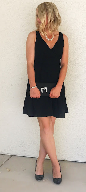 Thrifty Wife, Happy Life | Simple black dress accessorized with rhinstones