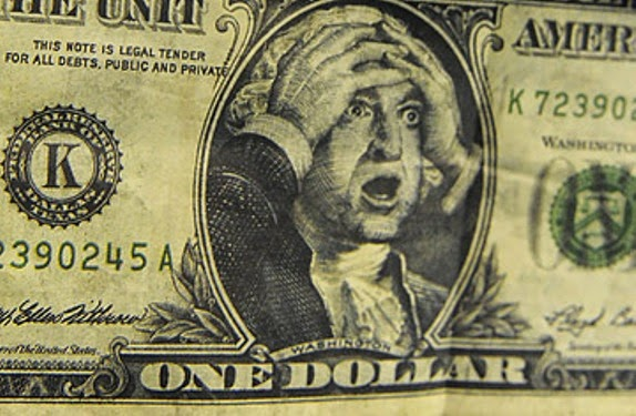 Dollar bill with George Washington bug-eyed surprised and his hands on his forehead
