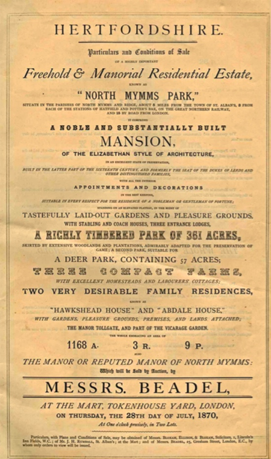A scan of the first page of the North Mymms Park sale details 1870
