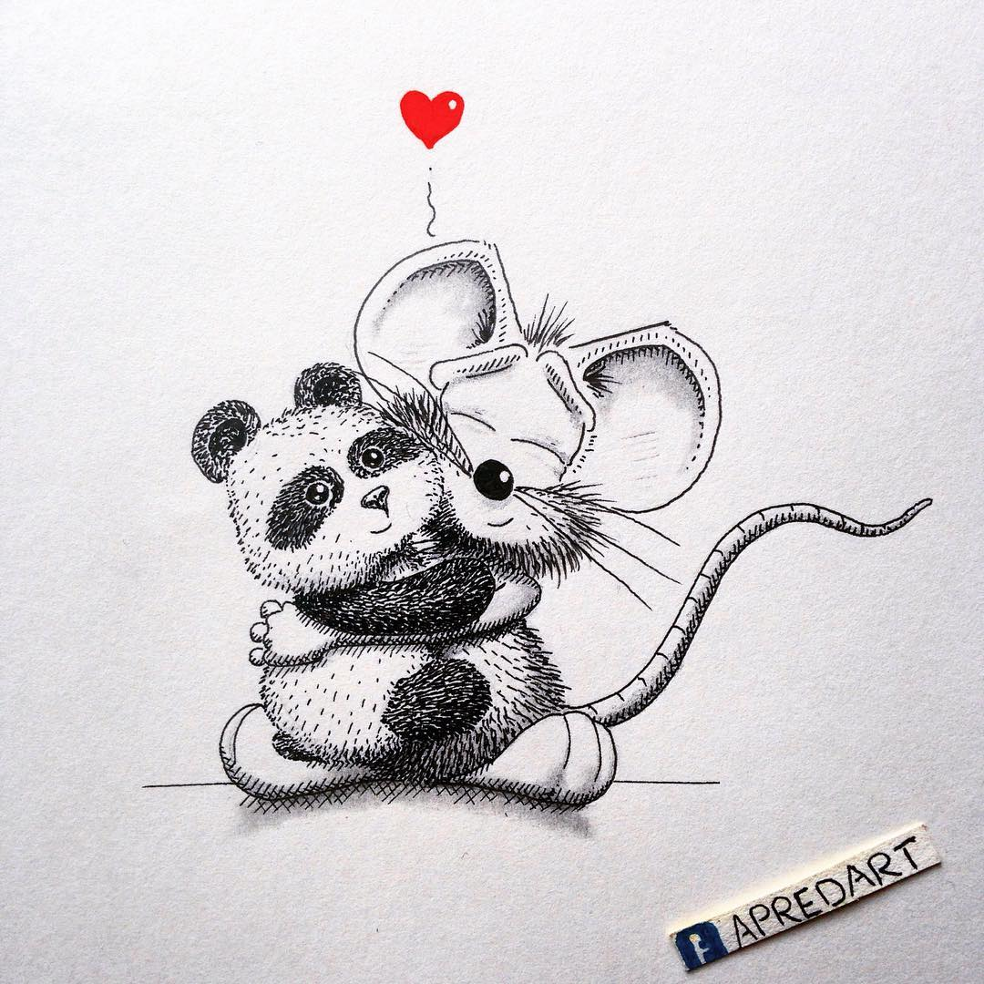 13-Baby-Panda-Loïc-Apreda-apredart-Drawings-of-Rikiki-the-Mouse-and-his-Famous-Friends-www-designstack-co