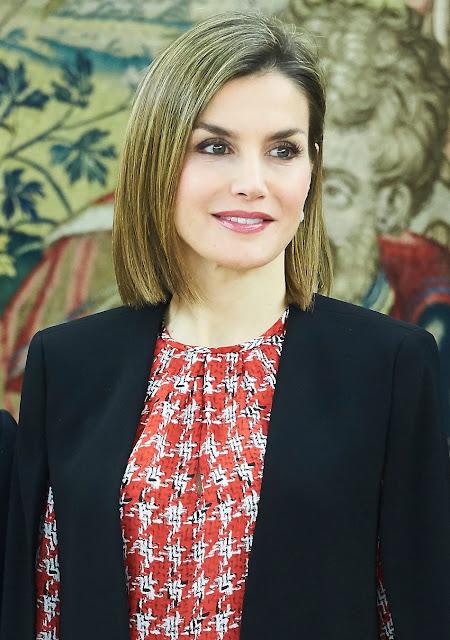 Queen Letizia Attends An Audience At Palacio De La