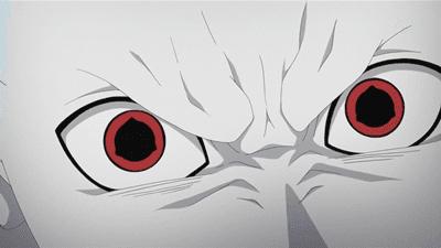 Shin Uchiha muestra su Mangekyo Sharingan enfrentandosé a Naruto