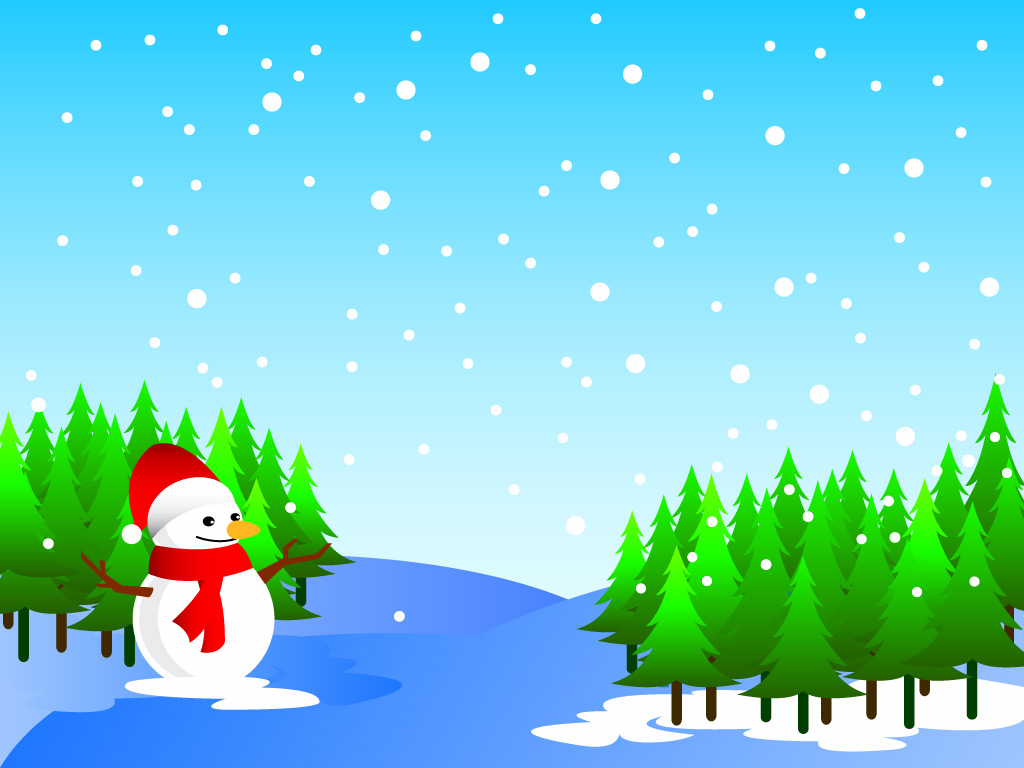 Animated Christmas Snowman Desktop Background