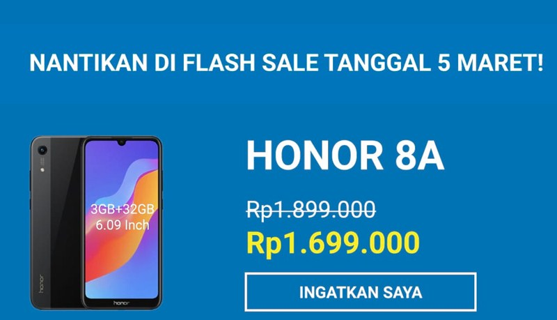 Jadwal flash sale honor 8A - Shopee